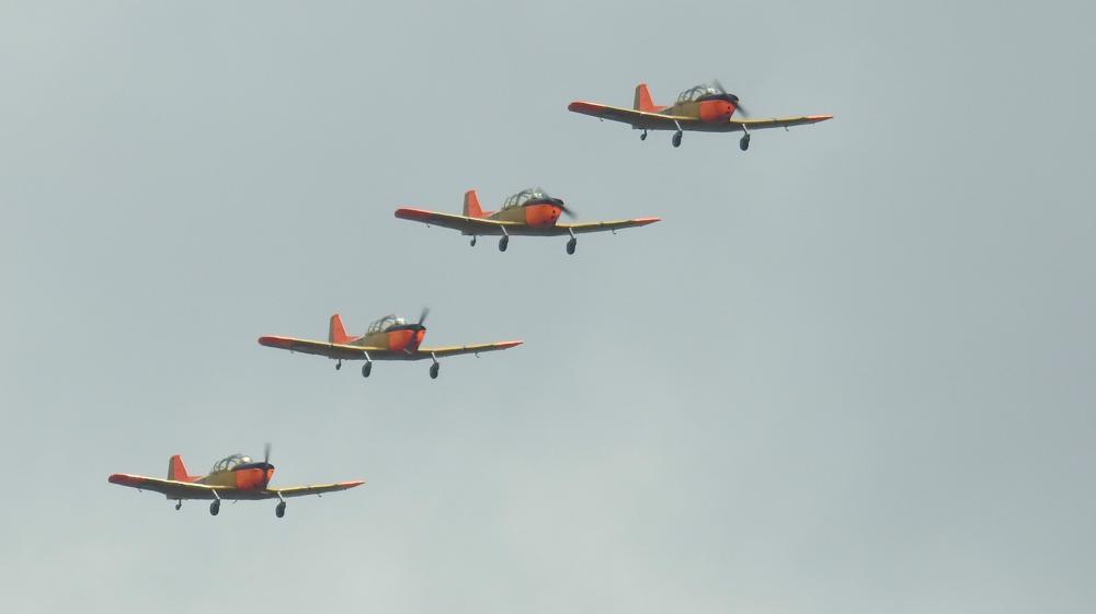 De Fokker Four in formatie boven Lelystad ter ere van Bevrijdingsdag 2019 (Ton ten Brinke)
