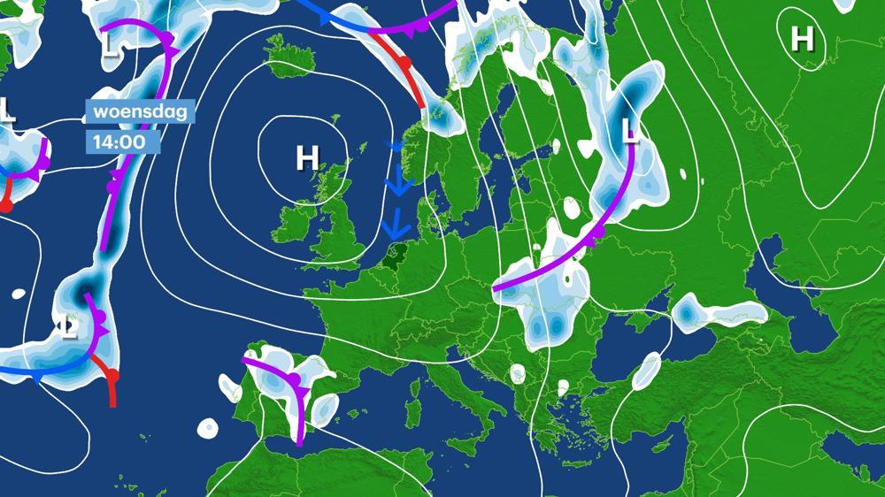 Hogedrukgebied in de buurt van Schotland zorgt voor rustig weer en een noordenwind