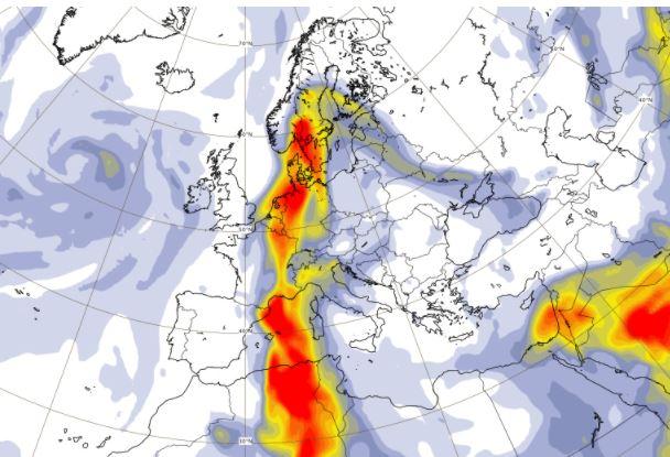 Hoogtepunt Saharastof vannacht rond middernacht. Tegelijkertijd kan het in de noordwestelijke helft van het land lichtjes regenen, waardoor woestijnstof mee naar beneden kan dwarrelen.