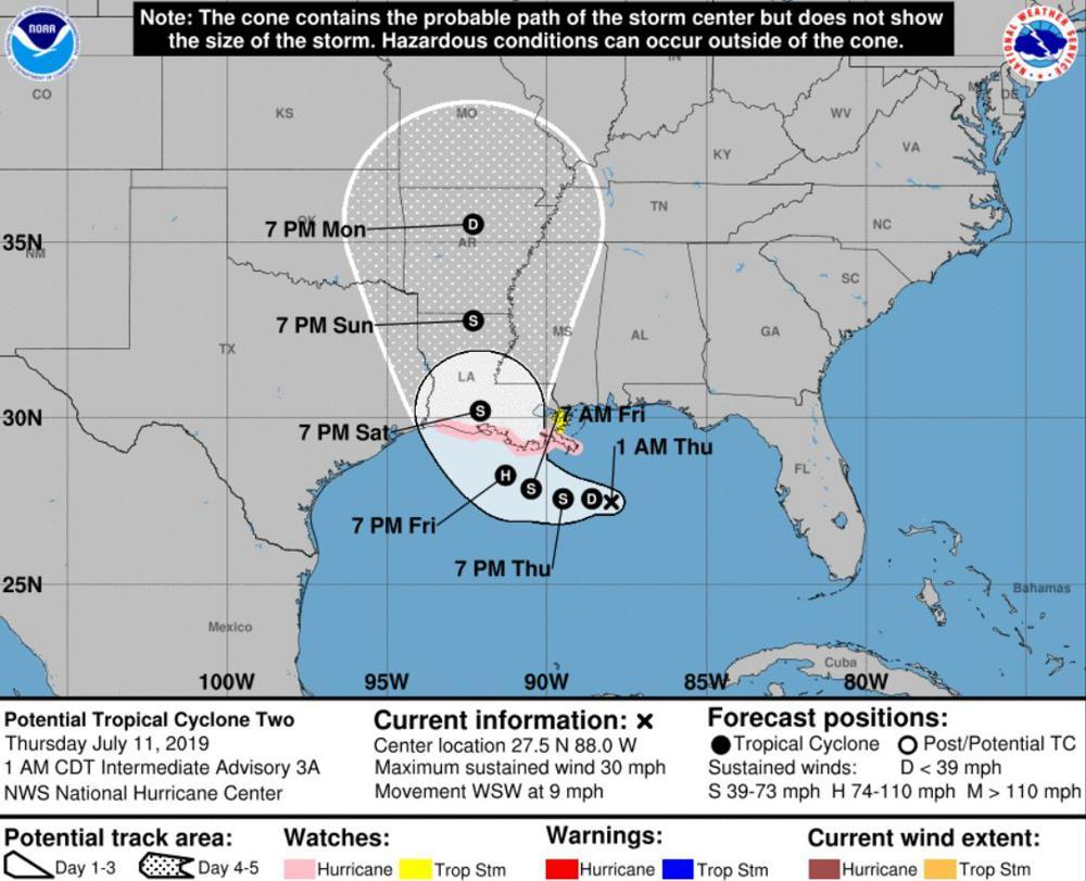 De verwachte koers van de mogelijke orkaan