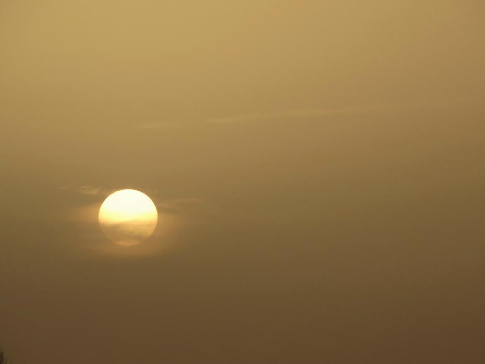 De zonsopkomst in combinatie met Saharastof en sluierwolken. Bron: Dilia van Zon, Lopik